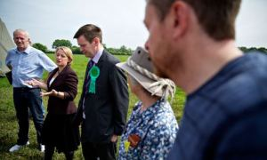 Green Party leader Natalie Bennett with  Peter Cranie at anti-fracking camp at Upton in Chester