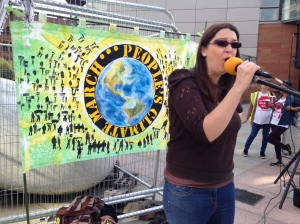 Jenny MC-ing the People's Climate March in Manchester, 2014